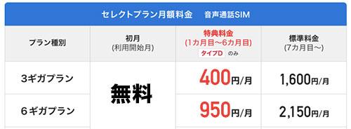 BIGLOBEモバイルキャンペーン価格の画像